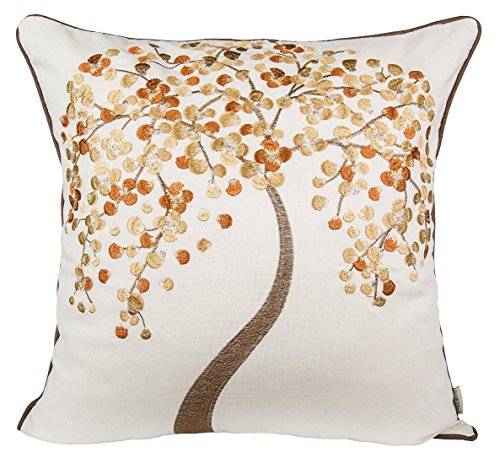 "BLUETTEK 18"" X 18"" Hand Embroidered Cotton Linen Decorative"
