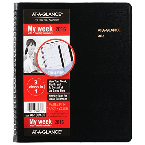 AT-A-GLANCE Weekly / Monthly Appointment Book / Planner 2016, Triple View, Tabbed, 6-7/8 x 8-3/4 Inches, Black (70-100V-05)