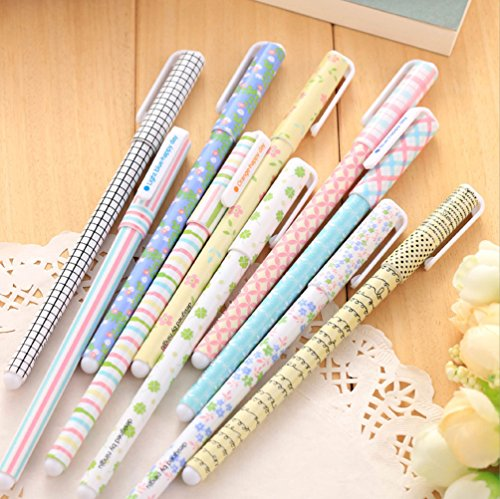 GMissT Colorful Gel Ink Pen Watercolor 0.38 mm Korean Cartoon Rollerball Pens Pack of 10 Flower Pattern
