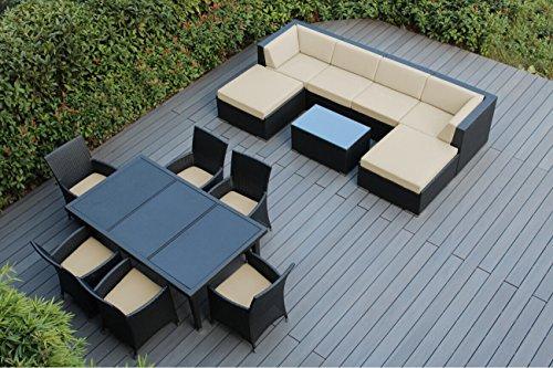 Genuine Ohana Outdoor Sectional Sofa and Dining Wicker Pa...