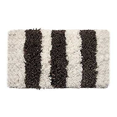 Bath Rug - Saffron Fabs Polyester/ Viscose/Cotton Handloom Woven, 34x21 Inches, Color White and Gray, GSF 200, Pattern Allure Stripes