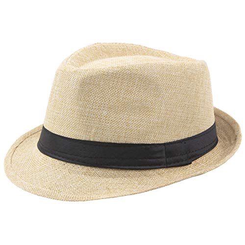 BABEYOND 1920s Panama Fedora Hat Cap for Men Gatsby Hat for Men 1920s Mens Gatsby Costume Accessories (Beige)]()