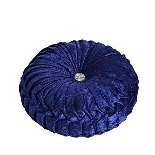 (NOVWANG Round Solid Color Velvet Chair Cushion Couch Pumpkin Throw Pillow Home Decorative Floor Pillow,13.39 x 13.39,Sapphire)