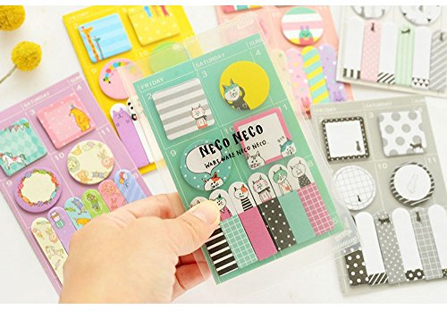 1 Pcs cute kitten weekly plan Sticky Notes Post It Memo Pad kawaii stationery School Supplies Planner Stickers Paper Bookmarks (Random Color) (Post It Note Heart Dispenser)