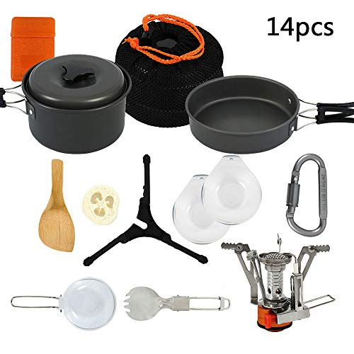 Librao 14PCS Camping Cookware Kit Nonstick Camping Pans and Pots Set for Backpacking, Outdoor Camping Hiking and Picnic