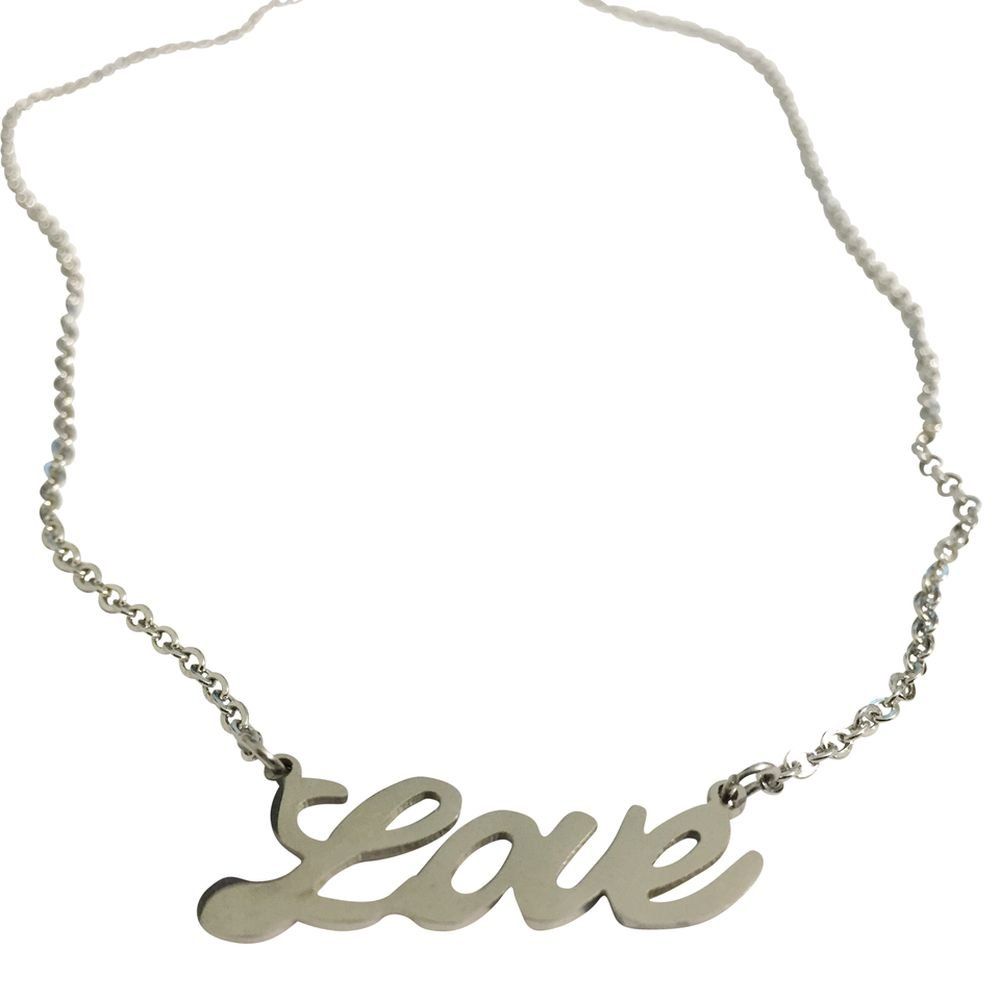 viStar Love Pendant Cursive Writing Necklace Stainless Steel 17 Inches Long 30mm Wide Pendant