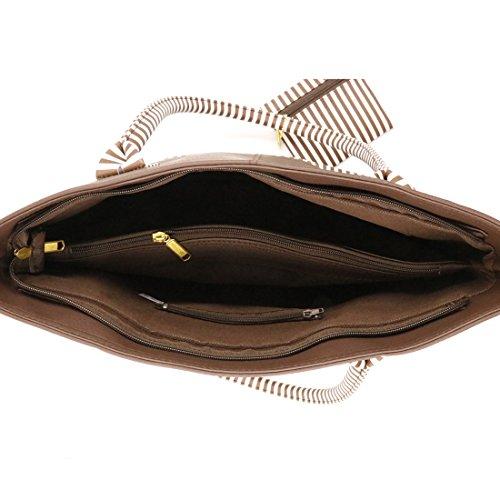 Pruse Satchel Tote Leather Hobo Small Stripe Twinya with Zipper PU Brown Beautiful Handbags Handle Top Women's wSqwBWPxX6