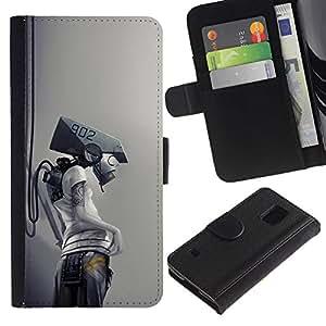 """A-type (Robot Cyborg"""") Colorida Impresión Funda Cuero Monedero Caja Bolsa Cubierta Caja Piel Card Slots Para Samsung Galaxy S5 V SM-G900"""