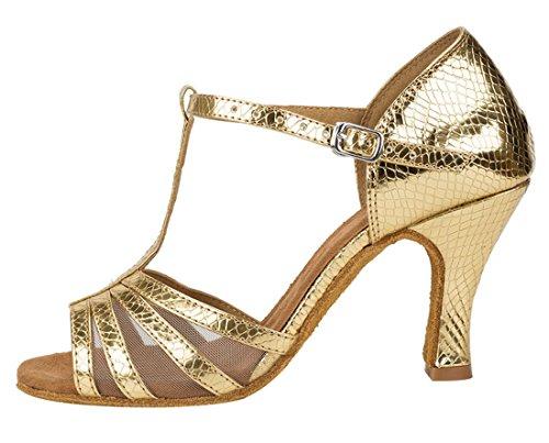 Tda Dames Peep Toe T-strap Mesh Synthetische Salsa Tango Samba Moderne Latin Dance Trouwschoenen 7.5cm Goud