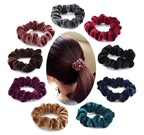 9 Pieces Velvet Hair Scrunchies, Soft Hair Bands Headbands Set, Hair Bobbles Elastics Hair Ties for Women Girls, Ponytail Holder Hair Accessories, 9 Colors