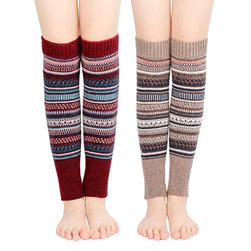 Bearbro 2 Paare Damen Winter Beinwärmer Stulpen Legwarmers Häkelarbeit Bein Wärmer Gestrickt Verdicken Beinstulpen