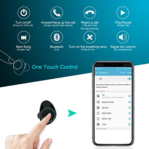 Cuffie Bluetooth 5.0, Auricolari Bluetooth Muzili TWS Leggeri Hi-Fi Cuffie Cancellazione Rumore,Auricolari Sport IP65, Earbuds con MIC per IOS e Android con Scatola Ricarica Portatile – Blu