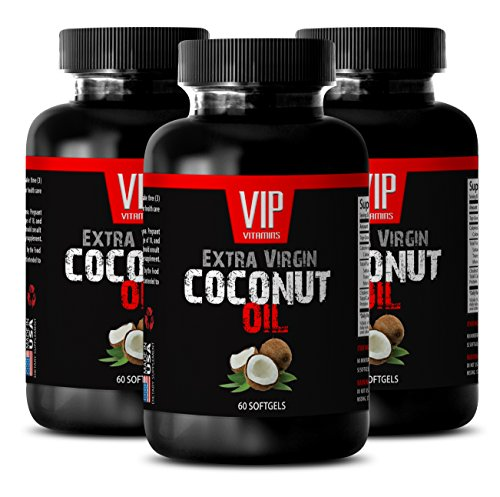 weight loss help - EXTRA VIRGIN COCONUT OIL 3000MG - coconut oil wilderness family naturals - 3 Bottles (180 Softgels)