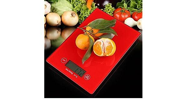 Zhrui Escalas Básculas de Cocina Cocina Balanzas electrónicas Digitales Alimentos Básculas Digitales Comida Digital roja: Amazon.es