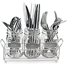 3-pc Mason Jar Flatware Caddies 17-Oz. with Silver Metallic Chalkboard in Metal Caddy Holder, Lightweight Multi Use Space-Saver Set