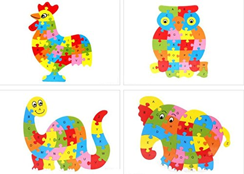Tuersuer Ideal Gift Colorful Wooden Animal Number and Alphabet Jigsaw Puzzle Educational Toy for Kids(Elephant) by Tuersuer (Image #3)