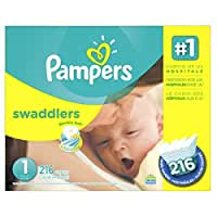 Pampers Swaddlers Diapers Size 1, 216 Count