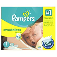 Pampers Swaddlers Diapers Size 1, Economy Pack Plus, 216 Count (Packaging May Vary)