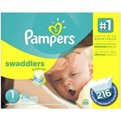 Pampers Swaddlers Newborn Diapers, 216 Count