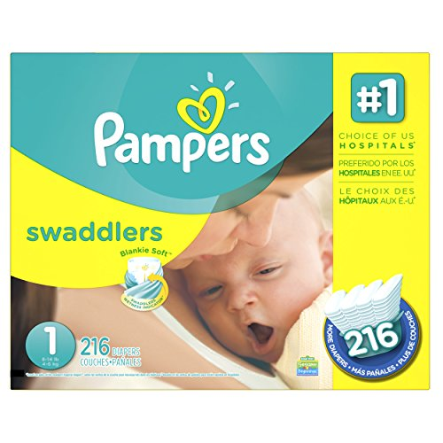Pampers Swaddlers Disposable Diapers Newborn Size 1 (8-14 lb), 216 Count, ECONOMY PACK PLUS
