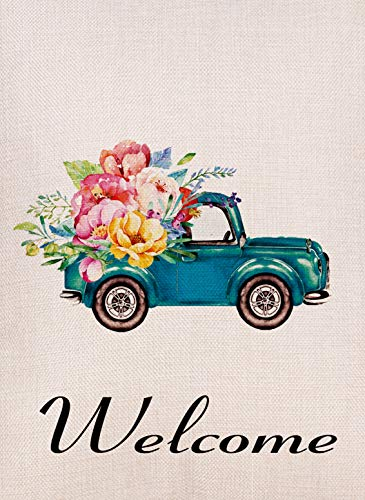 Furiaz Decorative Vintage Watercolor Truck Flowers Small Garden Flag Double Sided, Burlap Welcome Quotes Floral House Yard Decoration, Home Seasonal Farm Outdoor Décor Flag 12.5 x 18 Spring Summer