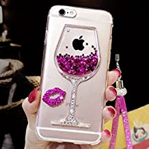iphone 6/6S Liquid Case,Goblet Wine Glass Liquid Quicksand Flowing Floating Bling Glitter Sexy Lip Case with Wrist Strap for Apple iphone 6/6S (Wineglass Rose)