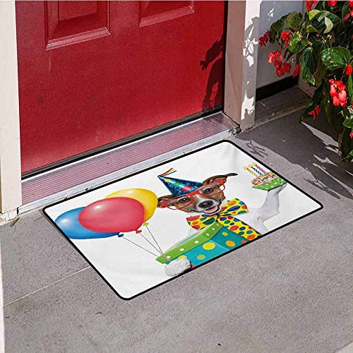 Jinguizi Kids Birthday Welcome Door mat Waiter Server Party Dog with Hat Cone Cupcake Balloons Celebration Boxes Door mat is odorless and Durable W31.5 x L47.2 Inch Multicolor