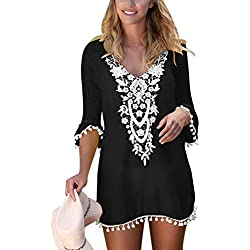 BLENCOT Women's Crochet Chiffon Tassel Swimsuit Bikini Pom Pom Trim Swimwear Beach Cover up-Black Large