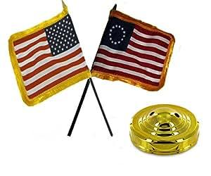 "Cartucho de Estados Unidos Betsy Ross bandera de tanto oro flecos 4""x6"" para juego de mesa dorado Base"