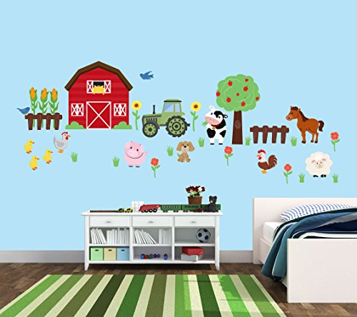 - Farm Animal Stickers, Farm Decals with Tractor, Cow, Pig, and Barn