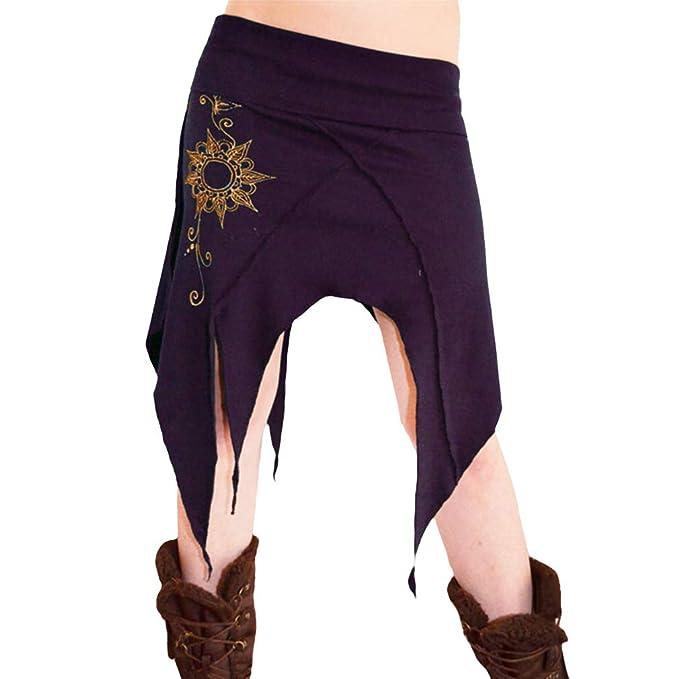 Mujer Bohemia Falda Cintura Alta Suelto Swing Falda Gitano Hippie ...