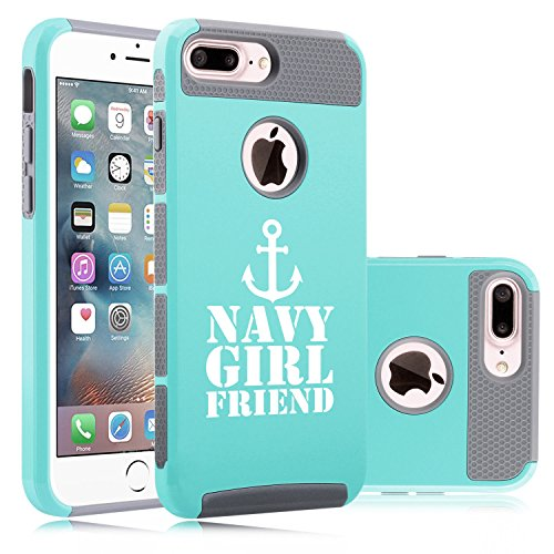 Girlfriend Anchor Navy (For Apple iPhone (7 Plus) Shockproof Impact Hard Soft Case Cover Navy Girlfriend Anchor (Teal-Gray))