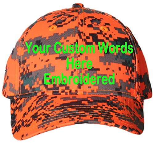 Custom Hat, Embroidered. Your Own Text. Adjustable Back. Curved Bill (Neon Orange Digital Camo)