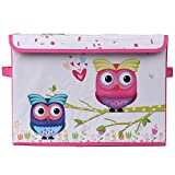 UberLyfe Kids Toy Storage Box with Pink and Blue Owls - Medium (KSB-001081-PKOWL1PC)