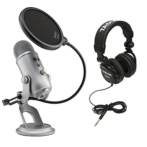 Blue Microphones Yeti USB Microphone with Full-Sized Headphones and Pop Filter for Yeti Microphone (Space Grey Monotone) by Blue Microphone