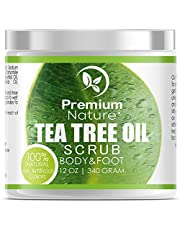 Tea Tree Body & Foot Scrub - 12 oz 100% Natural Exfoliator - Best Fungal Prevention Acne Dandruff Calluses Athlete's Foot Jock Itch - Premium Nature