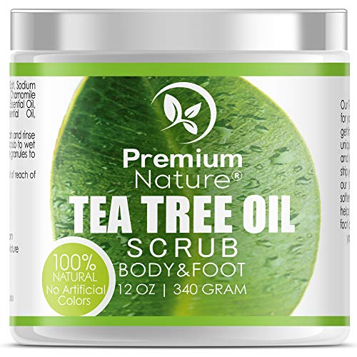 Antifungal Tea Tree Body & Foot Scrub - 12 oz 100% Natural Antibacterial Exfoliator - Best Fungal Treatment Prevents Acne Dandruff Calluses Athlete's Foot Jock Itch - Premium Nature