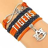 GeauxDat Auburn Tigers Womens Jewelry - Auburn Tigers Love Infinity Bracelet - Auburn Tigers Charm Bracelet