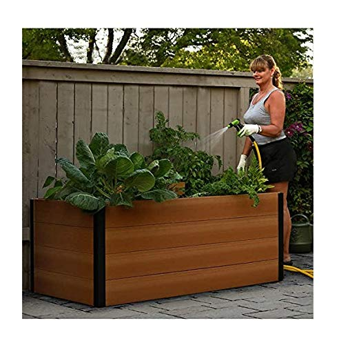Keyhole 3 ft. x 5 ft. Urban-Style Raised Garden Bed in Brown Wood (Keyhole 3 Ft X 5 Ft Garden Bed)