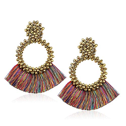 Tassel Bead Statement Earrings for Women Girls Handmade Bohemian Beaded Hoop Round Thread Fringe Drop Trendy Daily Studs Ear Jewelry Accessory Present for Mother Mom with Gushion Gift Box GUE130 Gold ()