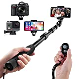 Arespark Selfie Stick - Wireless Extendable Selfie Monopod Portable Selfie Pole Gopros - DSLR - Cameras - X 8 7 Plus Android Samsung Galaxy S9 S8 Plus Cellphones - Extends to 50 inches
