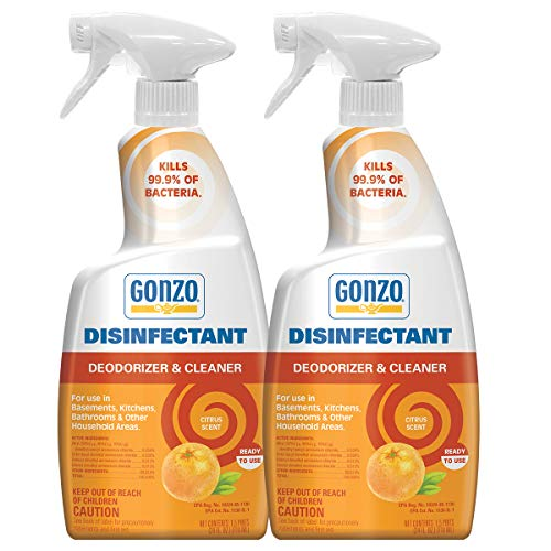 Gonzo Natural Magic Disinfectant Spray & Multipurpose Cleaner - 24 Ounce (2 Pack) Citrus - Odor Eliminator, Disinfectant, Flood Fire Water Damage Restoration