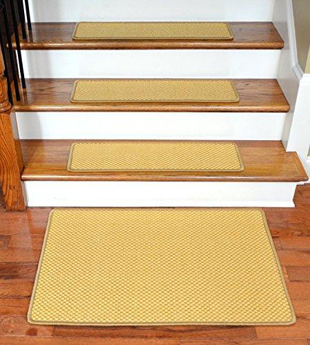 Dean Non-Slip Tape Free Pet Friendly Stair Gripper Natural Fiber Sisal Carpet Stair Treads - Madagascar Basketweave Tropical Gold 29