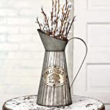 colonial home decor CTW 770006 Vintage Inspired Decorative Tall Pitcher With Handle For Artificial Dried Flowers or Kitchen Utensils, Tapered Galvanized Metal, Rustic Farmhouse Style Home Decor, Gray and Brown