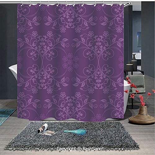FashSam Bathroom Curtain Gorgeous Well Formed Flowers on Purple Background Damask Floral Arrangement Ornament Decorative Print Bath Drapes(65