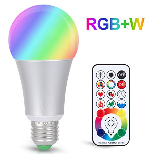 Boomile E26 LED Light Bulb with Remote Control, Timming 10W E27 RGB + Daylight White LED Color Changing Light Bulb, Dimmable Led Lamp, 120 Color Choices, Decorative Mood Light -