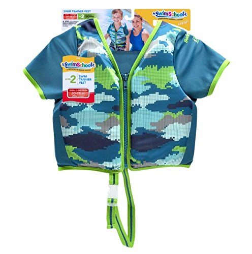 SwimSchool Swim Trainer Vest with Sun Protective Sleeves, Adjustable Safety Strap, Small/Medium, Up to 33 lbs., Blue