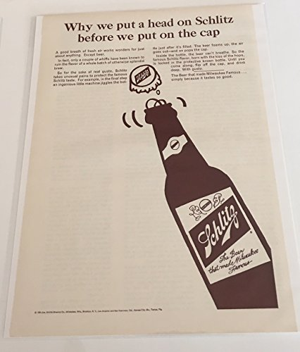 1964 Schlitz We Put A Head Before The Cap Magazine Print Advertisement
