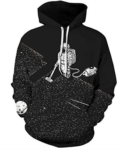 F style Funny Hoodies Men 3D Sweatshirts Print Astronaut Vacuum Cleaner Hoodies Pullover Top