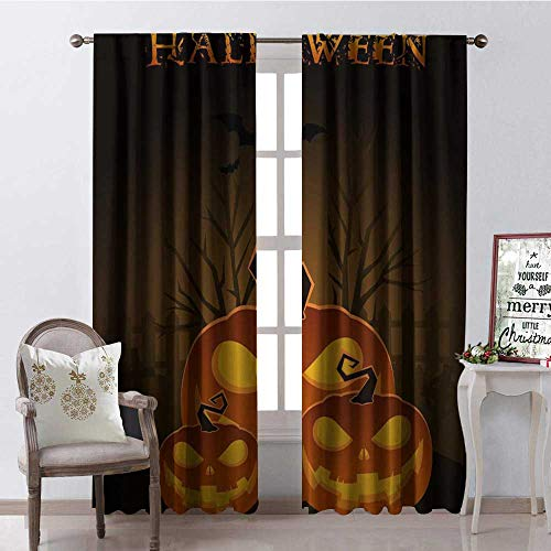 Hengshu Halloween Pumpk Lantern Thermal Insulating Blackout Curtain Blackout Draperies for Bedroom W120 x L108 -